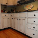Close Up of Oak Cabinets Painted & Glazed