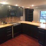 Black Magic! These Kitchen cabinets were stained natural oak. Customer wanted a new look!